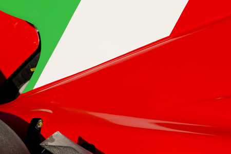 body work: The colors and crest of the national flag of Italy painted on the body work of a race car Stock Photo