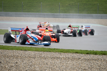 assen: ASSEN, NETHERLANDS - OCTOBER 19, 2014: Team GBR in the lead of the Formula A1 GP division during the first lap of the last race in the championships