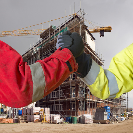 Conceptual image about agreements between contractors, and subcontractors in real estate building project
