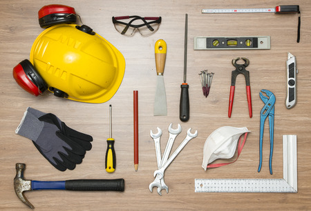 nippers: Various construction tools on floor Stock Photo