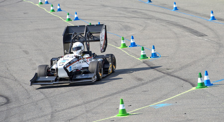 world championships: HOCKENHEIM, GERMANY - AUGUST 1, 2015: The Formula Student Team from the university of Zurich during the endurance race, Team AMZ becomes the runner-up in the 2015 Formula Student World Championships Editorial