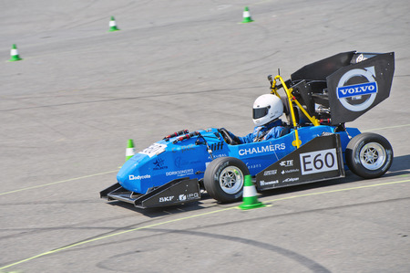 world championships: HOCKENHEIM, GERMANY - AUGUST 1, 2015: The electric race car of the University of Goteborg Chalmers, Sweden, in action during the endurance race of the Formula Student Germany officious world championships Editorial