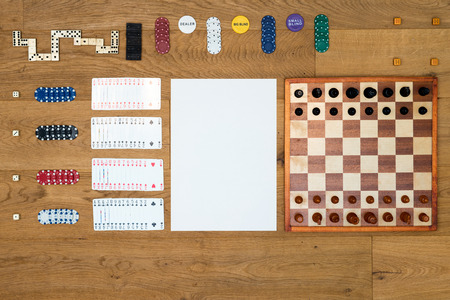 ocd: Top view of Board game items and gambling objects
