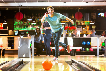 night out: Bowling with a couple of friends in a bowling alley is good fun, and a great idea for a night out