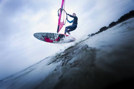 Windsurfer making an aerial
