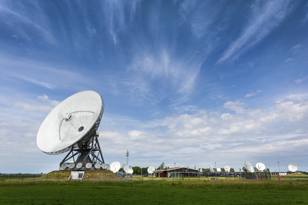 Parabolic satellite station that intercepts phonecalls for intelligence agency's Foto de archivo