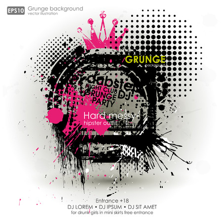 dribble: Grunge background in black color. Vector illustration. Grunge background with a colorful rainbow ink splat effect. Grunge banner with an inky dribble strip with copy space for party and t-shirt print