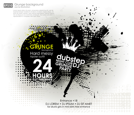 strip shirt: Grunge background in black color. Vector illustration. Grunge background with a colorful rainbow ink splat effect. Grunge banner with an inky dribble strip with copy space for party and t-shirt print