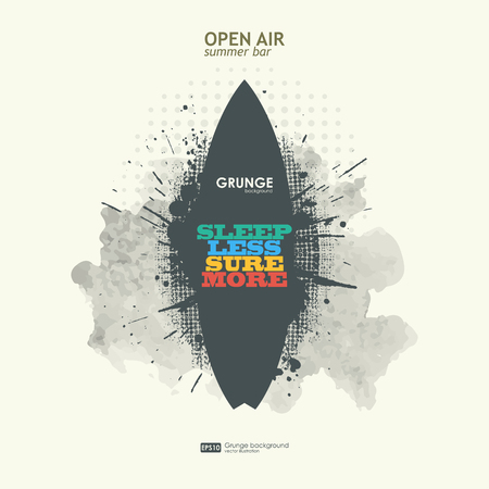 openair: Abstract grunge background poster for openair party. T-shirt surfboard graphic design. Grunge poster vector background. Dirt texture. Grunge banner with an inky dribble strip with copy space. Illustration