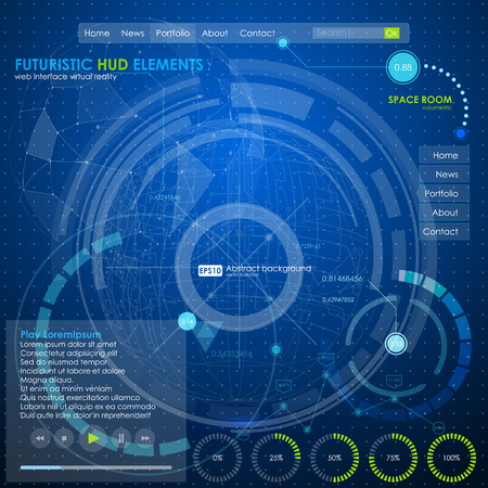 web ui infographic elements. futuristic user interface HUD blue neon. Web site design navigation elements Illustration