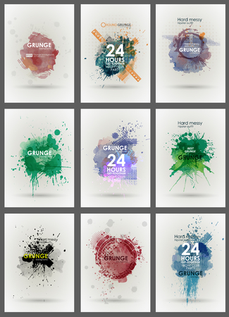 dribble: Set poster Grunge background vector. Grunge print for t-shirt. Abstract dirt backgrounds texture. Grunge banner with an inky dribble strip with copy space. Abstract background for party Illustration