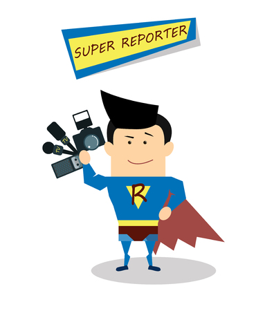 Illustration superman reporter in flat design isolated on white background. Vector Superhero reporter. Super live report concept, journalists with microphones and tape recorders and camera Illusztráció