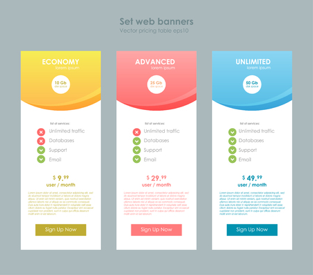 Three tariffs. Interface for the site. ui ux vector banner for web app. Pastel pricing table, banner, order, box, button, list and bullet with plan for website in flat design, style