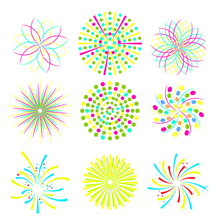 Festive patterned firework bursting in various shapes. Party and holiday event firework icon flat set isolated vector illustration Ilustração