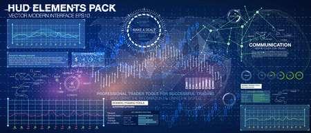 Stellen Sie Grafiken und Diagramme ein. Statistik und Daten, Infografik. Hintergrund des HUD-Weltraums. Infografik-Elemente. futuristische Benutzeroberfläche. Abstrakter Hintergrund des Geschäfts