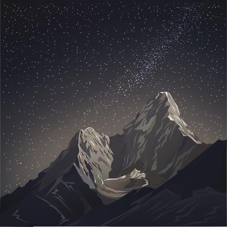 山と星の夜空。ベクトル図の背景。夜の星空と天の川と山々 の風景。スターの夜