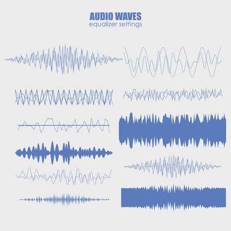 set audio equalizer technology, pulse musical. Audio equalizer sound wave display horizontal. abstract isolated vector illustration Illustration