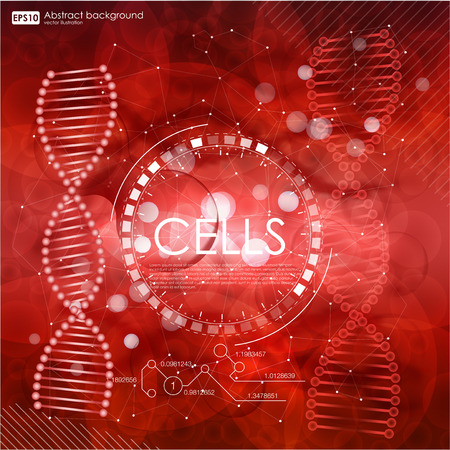 ameoba: Science background with cells HUD. Red cell background. Life and biology, medicine scientific, bacteria, hemoglobin, blood, molecular research DNA. Vector illustration
