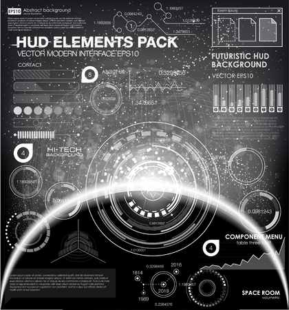 Infographic elements. futuristic user interface. Vector science Polygonal background. Black and white infographic elements. futuristic user interface HUD Illustration
