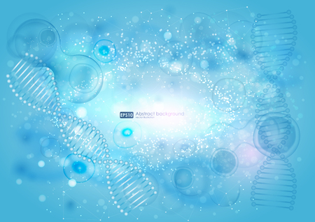 Science background with cell. Blue cell background. Life and biology, medicine scientific, bacteria, molecular research DNA. abstract background on medical subjects with bacteria, cells and DNA Illustration