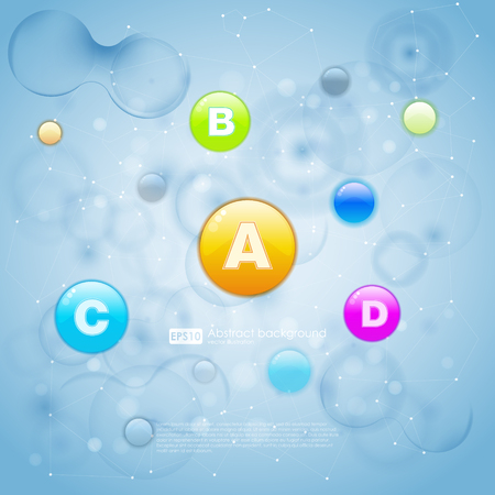ameoba: Medical vitamins and cell background. Vitamins molecule chemical science. Blue cell background.