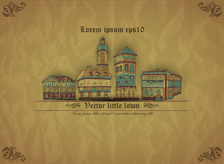 Little town. Background from old paper. Creative vintage vector