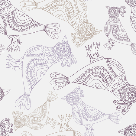 Decorative parrots and peacocks seamless background pattern Illustration