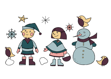 Childrens drawing. Boy and girl sculpt a snowman. Colorful pattern