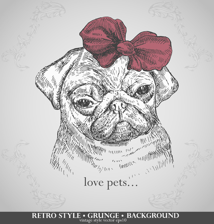 head pug dogs in retro style. Hand drawn vector illustration Illustration
