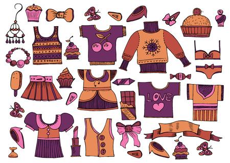 Gran conjunto de ropa de estilo vintage - Vector Ilustración de vector
