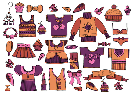 Large set of clothes in vintage style - Vector Vektorové ilustrace