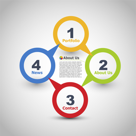 Web design. One two three four - vector paper progress steps for - Vector illustration Stock Illustratie