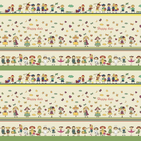 seamless ornamental pattern for kids, magazines , web sites, textile industry, happy kids playing