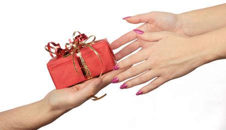 giving hand: giving gift Stock Photo