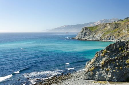 Beautiful coastline with turquoise water of the Pacific in California
