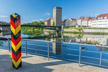 Border Bollard at the German border to Poland near the Neisse river in Görlitz