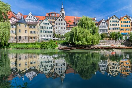View of the historic old town of Tuebingen, Germany with the reflection of the houses in the water