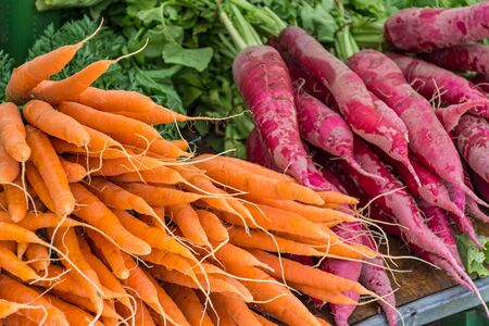 Fresh vegetables (carrots) at the farmers market Stock Photo