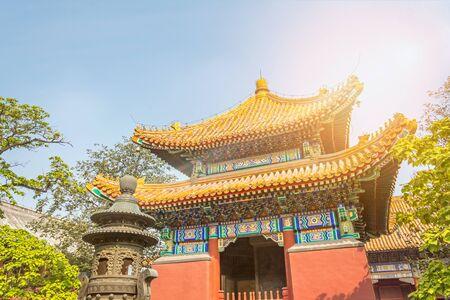 Colorful Buddhist Lama temple in beautiful morning light