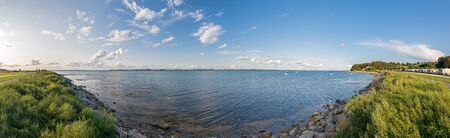 Ultra high res panorama of beautiful bay with campsite at the Baltic Sea in Northern Germany