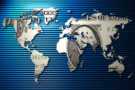 george washington: One dollar world map