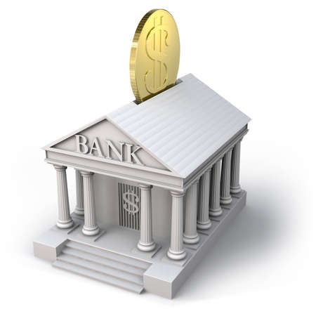 headquarter: Bank building with dollar coin Stock Photo