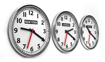 Wall clocks displaying the time of 3 cities around the world photo