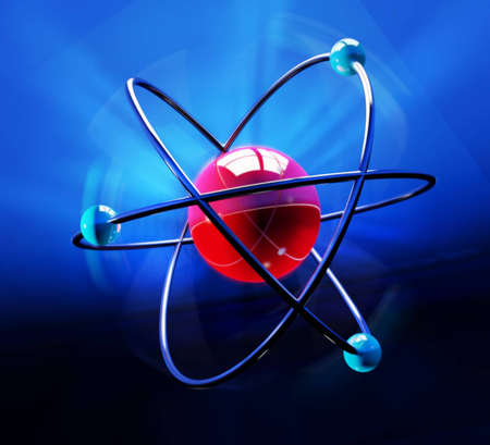 Abstract atom symbol over blue backdrop photo