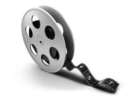motion picture: Reel of 35mm motion picture film on a white background Stock Photo