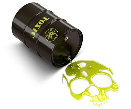 trash danger: Barrel throwing toxic liquid (skull shaped pool)