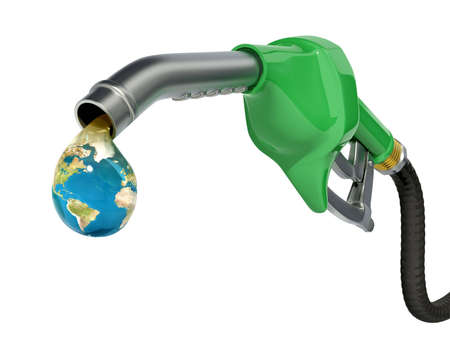 out of gas: Earth globe drop coming out of gas pump - Ecology concept Stock Photo