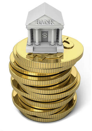 stacked: Symbolized bank over stacked gold dollar coins Stock Photo