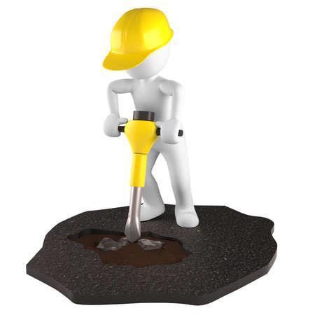 Pre�lufthammer: Bauarbeiter und Stra�enbauer h� � lt ein Presslufthammer in der Hand Lizenzfreie Bilder