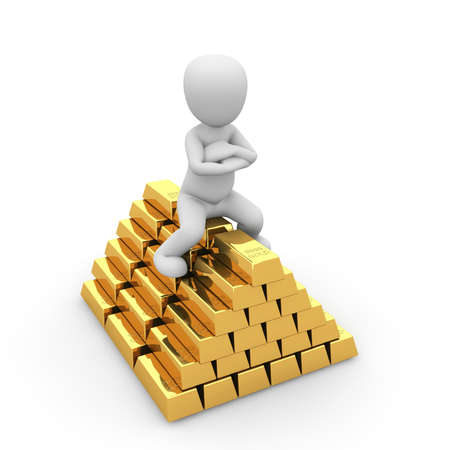 A wealthy man is sitting on a pile of gold bars